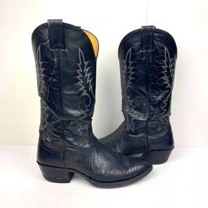 NOCONA Men's Black Lizard western Boots Size 8 D Embroidered Cowboy Boots